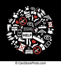 rozmanitý, jednoduchý, refugees, námět, ikona, dát, do, kruh, eps10