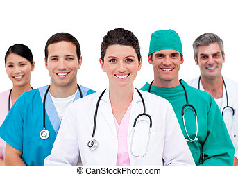 rozmanitý, lékařský četa, do, nemocnice