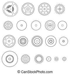 rozmanitý, nárys, cogwheels, končiny, o, bdít, hnutí, eps10