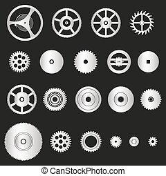 rozmanitý, stříbrný, kov, cogwheels, končiny, o, bdít, hnutí, eps10