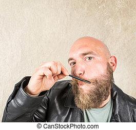 rozmieszczając, brodaty, jego, człowiek, broda