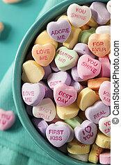 rozmowa, serca, dzień, cukierek, valentine