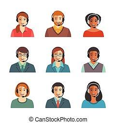 rozmowa telefoniczna, agenci, avatars, płaski, środek