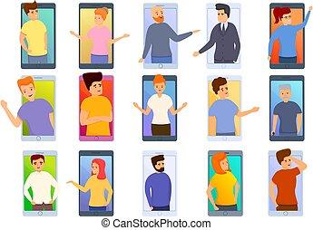 rozmowa telefoniczna, ikony, video, rysunek, komplet, styl