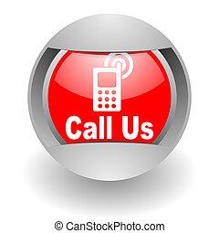 rozmowa telefoniczna, na, stal, glosssy, ikona