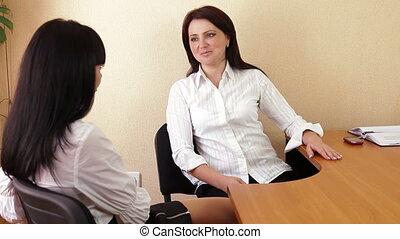 rozmowa, w, biuro