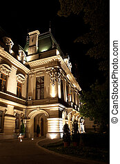 Roznovanu Palace known as the cityhall in Iasi, at night, in...