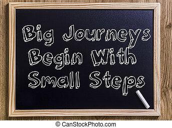 rozpoczynać, podróże, cielna, konturowany, -, kroki, chalkboard, tekst, mały, nowy, 3d