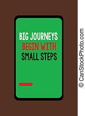 rozpoczynać, pojęcie, handlowy, podróże, tekst, do góry, początek, treść, ryzyko, cielna, mały, nowy, pismo, steps.