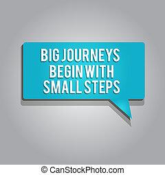 rozpoczynać, pojęcie, słowo, handlowy, podróże, tekst, do góry, pisanie, początek, ryzyko, cielna, mały, nowy, steps.