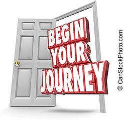 rozpoczynać, twój, podróż, 3d, słówko, otwarte drzwi, początek, ruchomy, teraz