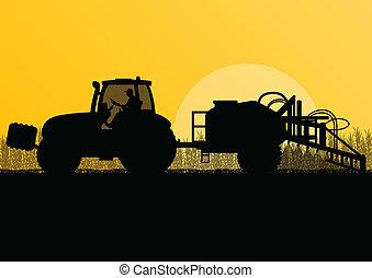 rozpylający, kraj, ilustracja, pole, wektor, ziarno, traktor, tło, kulturalny, pestycydy, rolnictwo, krajobraz