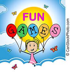 rozrywka, środki, radosny, igrzyska, zabawa, radosny, szczęśliwy
