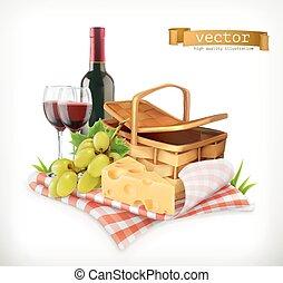 rozrywka, ser, na wolnym powietrzu, piknik, natura, okulary, piknik, ilustracja, kosz, wektor, czas, tablecloth, winogrona, wino