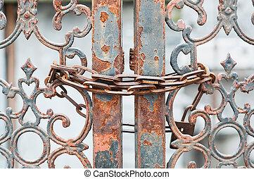 rozsdásodás, bezárt, lánc, kapu