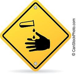 rozsdásodó, vegyszerek, veszély, felszólít cégtábla
