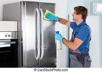 rozsdamentes, takarítás, hűtőgép, ember
