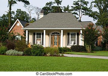 roztomilý, domů, s, krajinomalba, trávník