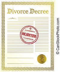 rozwód, dekret, odrzucany, papiery