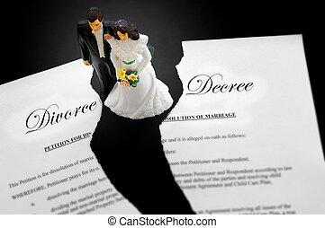 rozwód, para, porwany, cake-topper, ślub, dokument
