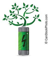 rozwój, bateria, drzewo