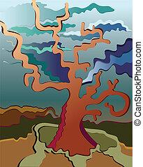 rozwój, drzewo, trzaskać