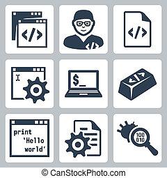 rozwój, komplet, ikony, programowanie, wektor, software