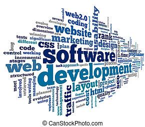 rozwój, pojęcie, skuwka, chmura, software