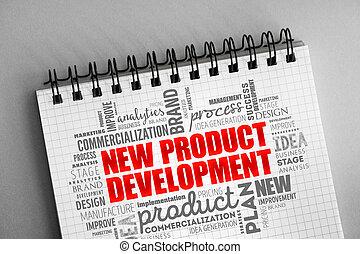 rozwój produktu, nowy, collage, słowo, chmura