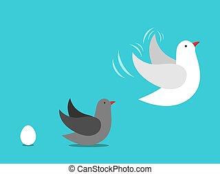rozwój, ptak, do góry, jajko