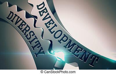 rozwój, rozmaitość, -, metal, mechanizm, gears., 3d.