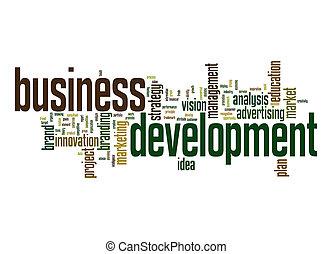 rozwój, słowo, handlowy, chmura
