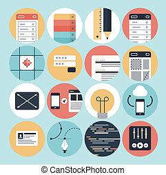 rozwój, sieć, graficzny, ikony, nowoczesny, projektować
