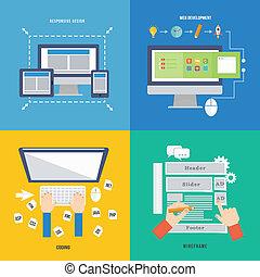 rozwój, sieć, pojęcie, płaski, element, projektować, ikona