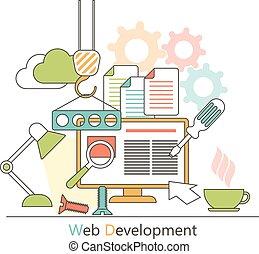 rozwój sieći, illustration., płaski, concept., ikony, style., zastosowanie, wektor, projektować, programming., służby, projektować