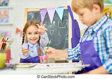 rozwój, szkoła, sztuka, dzieci, cieszący się, klasa