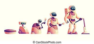 rozwój, wektor, pojęcie, próżnia, roboty, sprzątaczka