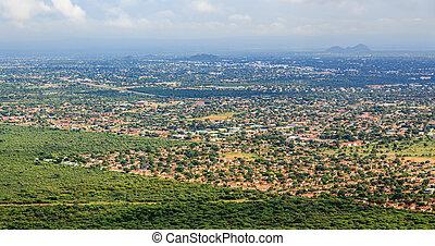 rozwalając, miasto, wartko, savannah, na, gaborone,...