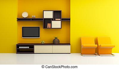 rozwalanie się, pokój, wewnętrzny, z, półka na książki, i, telewizja