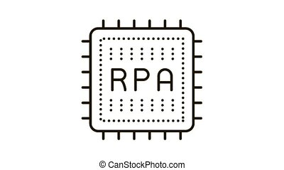 rpa chip Icon Animation. black rpa chip animated icon on white background