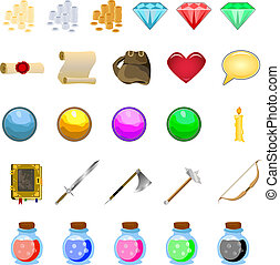 RPG game icons set potions, buttons, weapons, scrolls, money...