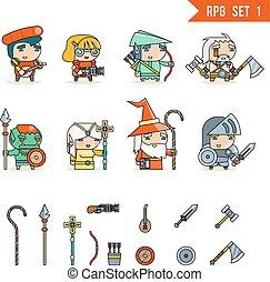 rpg, hra, fantazie, charakter, vektor, ikona, dát, ilustrace