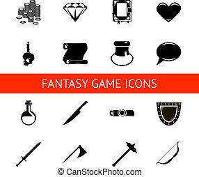 rpg, hra, ikona, dát, dávka, hotelový poslíček, zbraňi, rola, peníze, krystalový, zamluvit, válečník, kouzelník, vektor, ilustrace