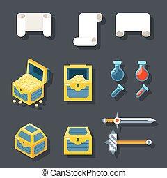 rpg, hra, příslušenství, ikona, dát, rola, poklad, skříň, dávka, zbraňi, byt, design, šablona, vektor, ilustrace