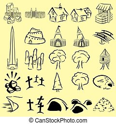 RPG map icons set - 25 role playing game map icons