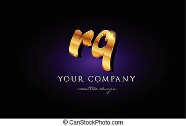 rq  r q 3d gold golden alphabet letter metal logo icon design handwritten typography