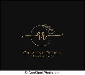 rr, inicial, elegante, logotipo, diseño, belleza, monogram