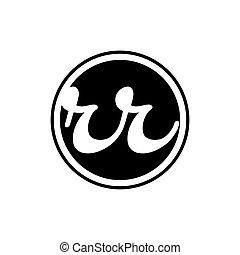 rr, początkowy, litera, logo, ring, koło