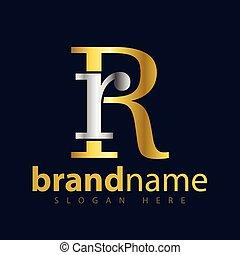 rr, początkowy, wektor, litera, logo, ikona