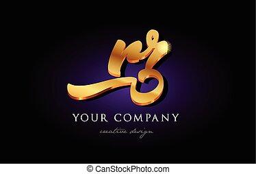 rr r r  3d gold golden alphabet letter metal logo icon design handwritten typography